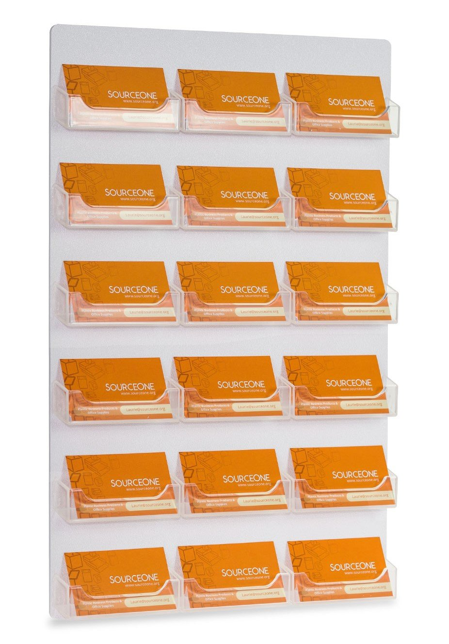 Source One Business Card/Gift Card Display Holder with Premium Wall Mount and 18 Pockets (18PWALLBC)