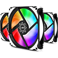 J&D 3-Pack PC ARGB Fan, 5V 3Pin Silent Triple Pack 120mm Case Cooling Fan Kit with Addressable ARGB Lighting PWM Intelligent Control for Motherboard Sync/PC Case