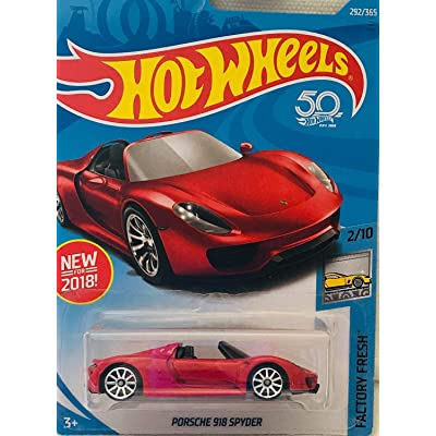 Hot Wheels Factory Fresh 2/10, RED Porsche 918 Spyder 292/365 50TH Anniversary Card: Toys & Games