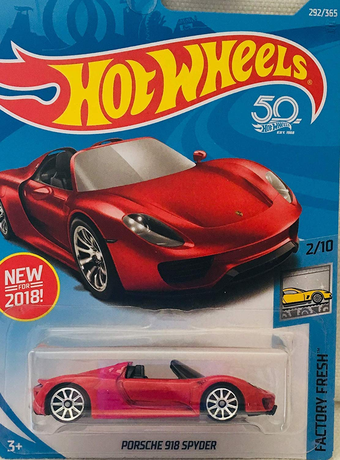 Hot Wheels Factory Fresh 2/10, RED Porsche 918 Spyder 292/365 Tarjeta del 50 aniversario