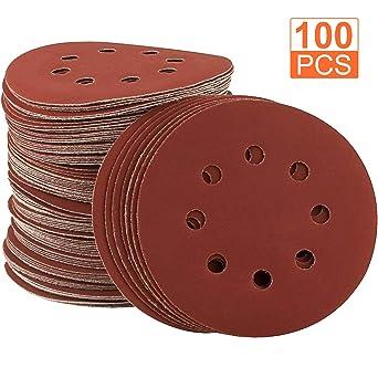 10pcs//set 5Inch 8Hole Round Sandpapers Grit 2000 Hook Loop Sanding Discs New