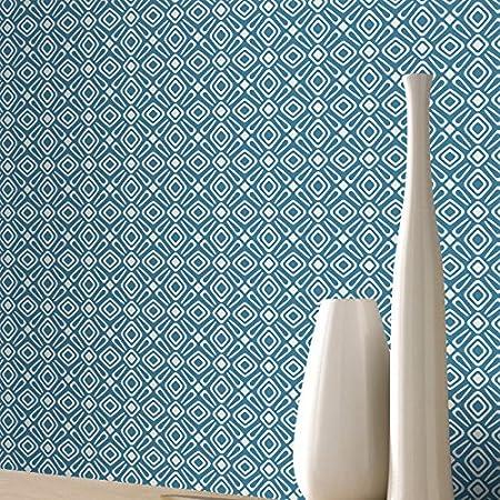 Geometric Wallpaper Modern Retro Shapes Vibrant Bright Luxury Blue White Rasch