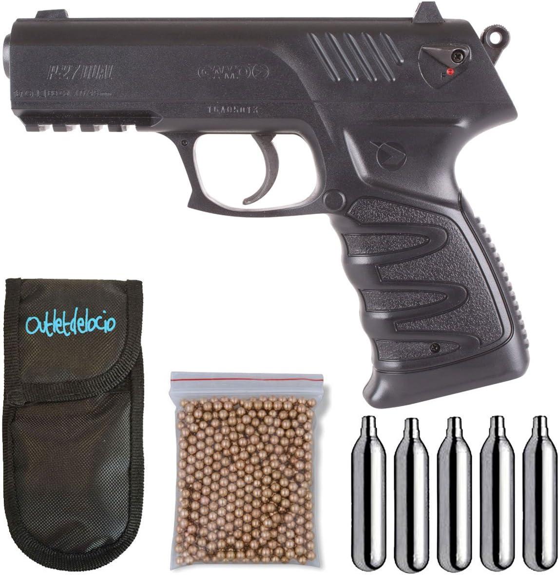 Outletdelocio. Pack Pistola Perdigón Gamo P-27 Dual. Calibre 4,5mm. Funda Portabombonas, Balines y Bombonas co2, 23054/29318/38123