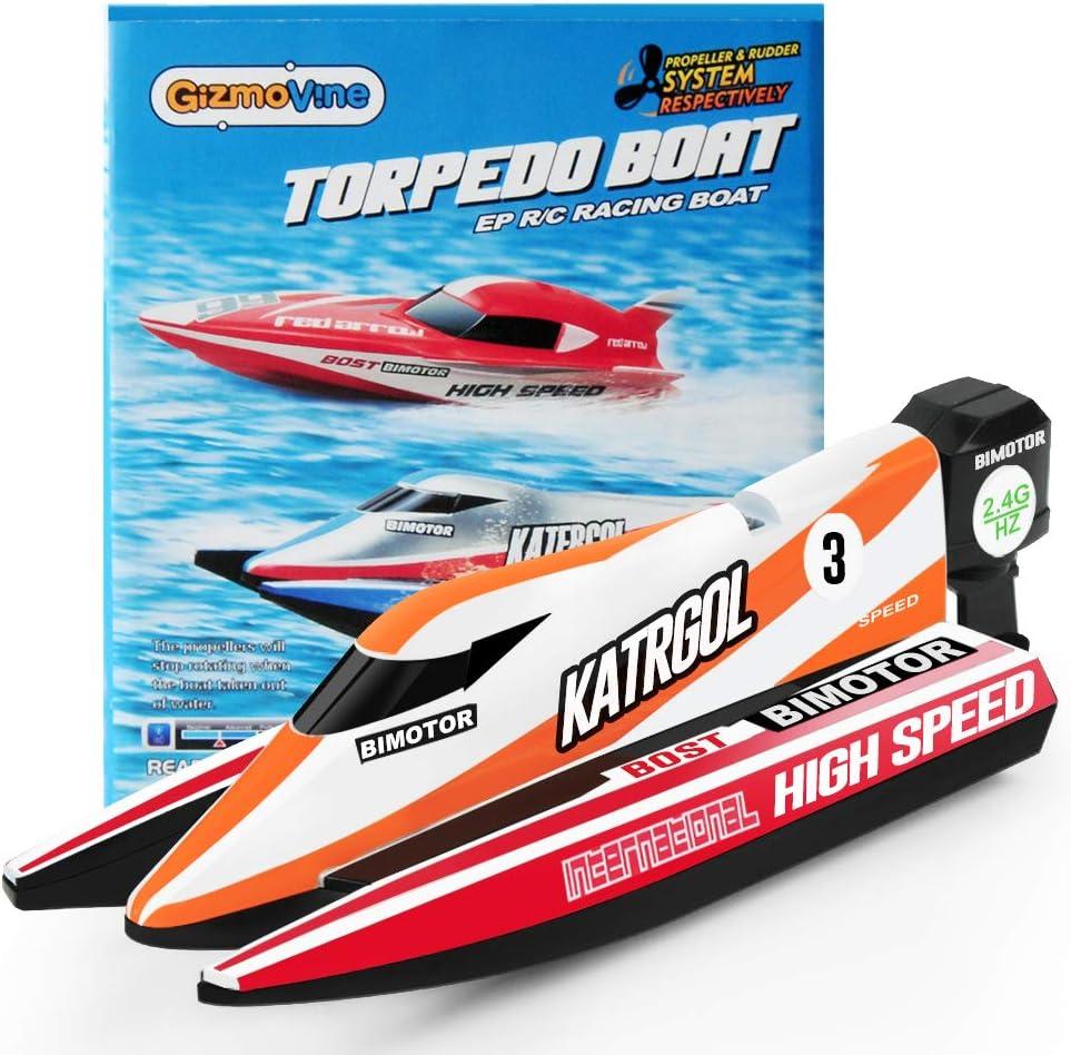 GizmoVine Mini Barco Teledirigido Lancha Teledirigida RC Boat 2.4G High Speed Racing Boat Summer Water Toy para niños (4022 Barco)