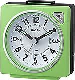 リズム時計 目覚まし時計 アナログ 小さい かわいい デイリーRA27 連続秒針 ライト 付き カラフル 時計 グリーン DAILY (デイリー) 8REA27DN05