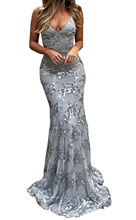 Changjie Womens Sequins Prom Dresses Mermaid Long Evening Party Gown