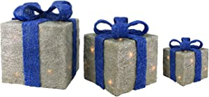 Northlight Set of 3 Silver and Blue Lighted Gift Boxes Outdoor Christmas Yard Decor