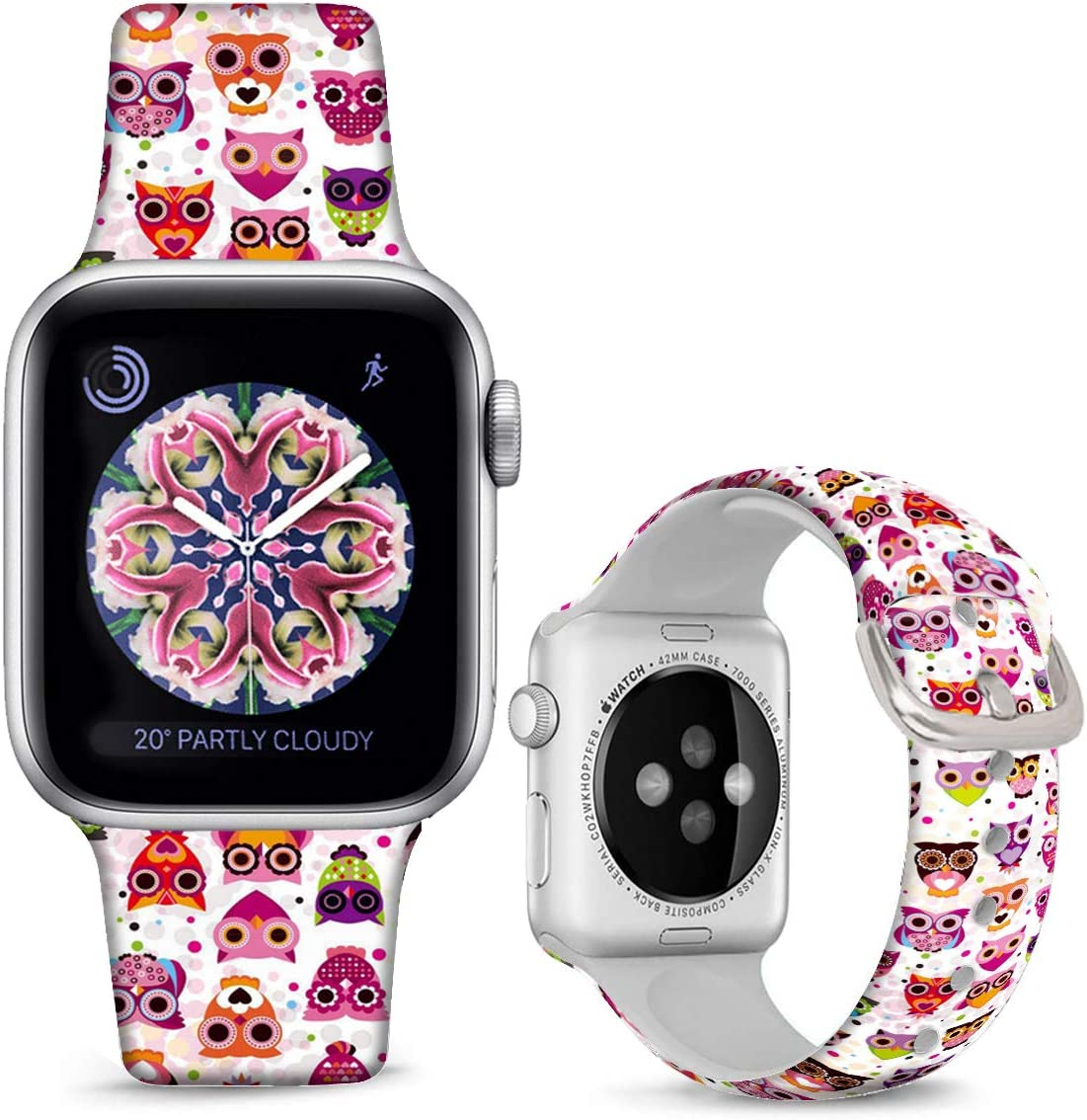 DOO UC Christmas Floral Silicone Watch Bands Compatible with Apple Watch 42mm/44mm for Women/Men ,Cute Cartoon Owl Silicone Fadeless Pattern Printed Replacement Strap for iWatch Series 6 5 4 3 2 1