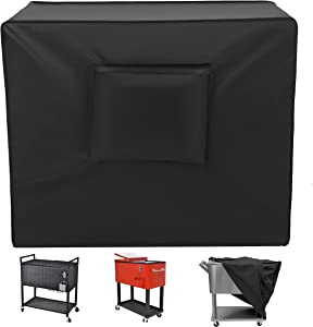 Kovshuiwe Cooler Cart Cover 37.4 x 19.68 x 36.22in, Waterproof UV Resistant 420D Oxford Fabric Fit for Most 80 QT Rolling Patio Cooler Cover ,Beverage Cart, Rolling Ice Chest -24 Months of sue