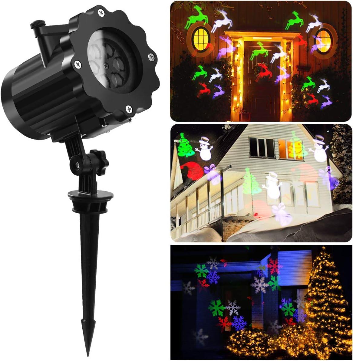 Luces de Proyector Navidad con Control Remoto para Interior & Exterior, Lámpara de Proyección LED con 12 Diapositivas de Patrón para San Valentín, Navidad, Fiestas de Cumpleaños de niños