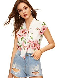 021d3322c19c SheIn Women's Summer Floral Button Up Tie Neck Knot Cap Sleeve Blouses  Shirt Tops