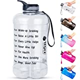 WGCC 1 Gallon Water Bottle with Straw, LeakProof BPA Free Motivational Water Bottle with Time Marker, Reusable 128oz Large Wa