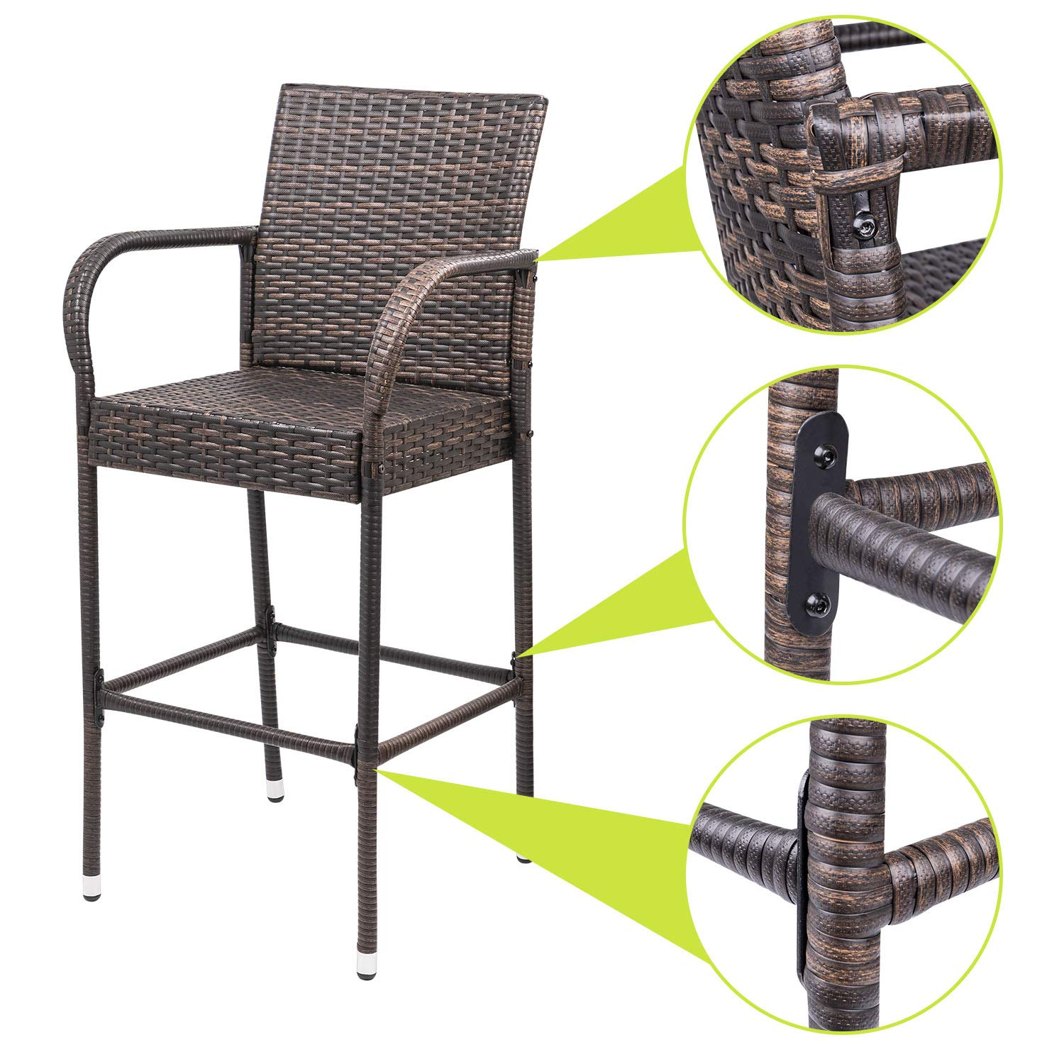 Homall Patio Bar Stools Wicker Barstools Indoor Outdoor Bar Stool Patio Furniture with Footrest and Armrest for Garden Pool Lawn Backyard Set of 2 (Brown) by Homall (Image #1)