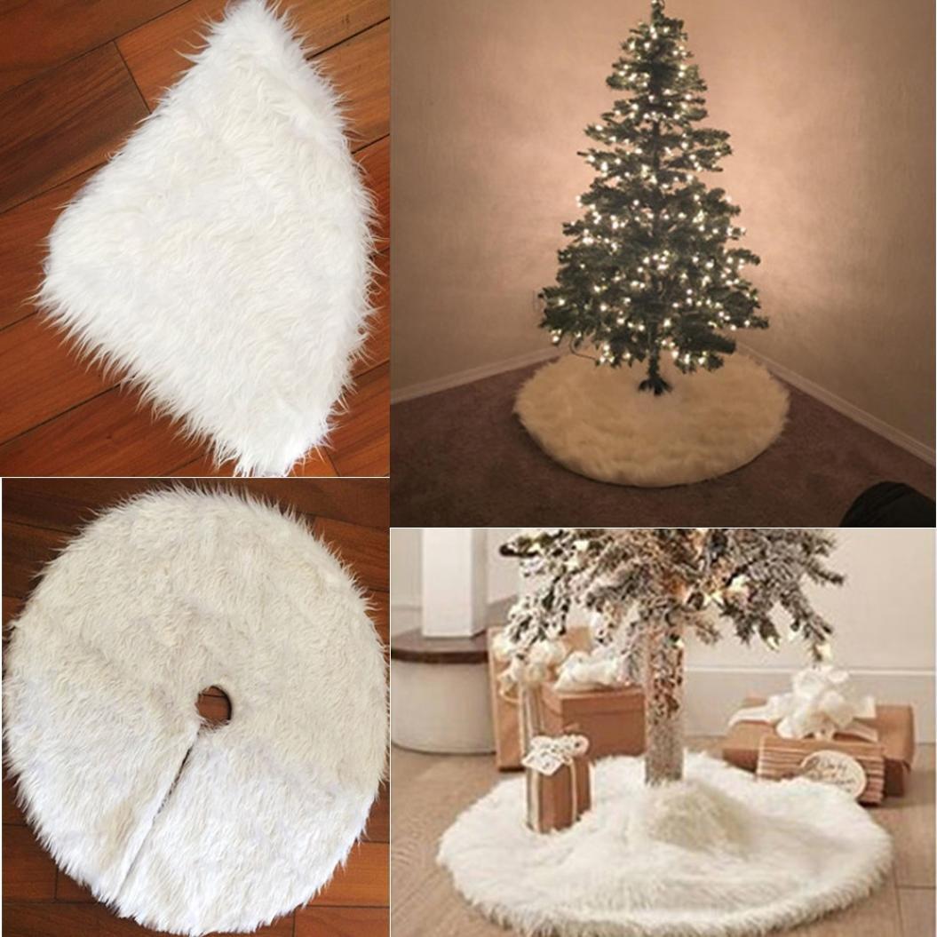 Christmas Tree Skirt, SHOBDW 78cm/90cm/122cm Plush Long Haired Christmas Tree Skirt Shop Home Decor Ornamentation (78cm, White)