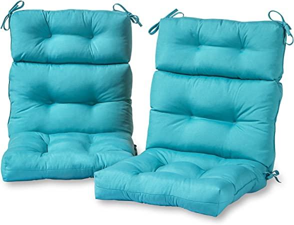 """Outdoor Patio High Back Chair Cushion UV Resistant Cushions 44/"""" x 22/"""" Set of 2"""