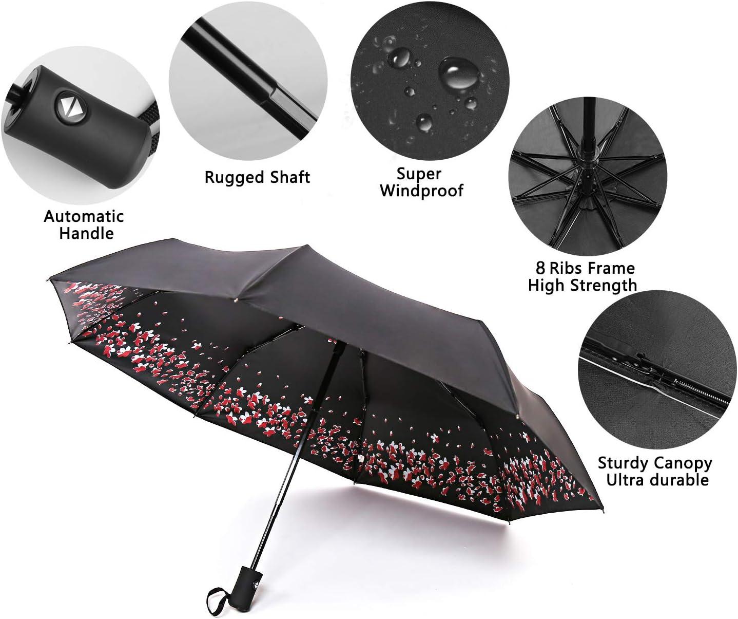 ANINILY Cute Dog 3 Folds Auto Open Close Umbrella Black Glue Anti UV Coating Compact Folding Umbrellas for Women Men