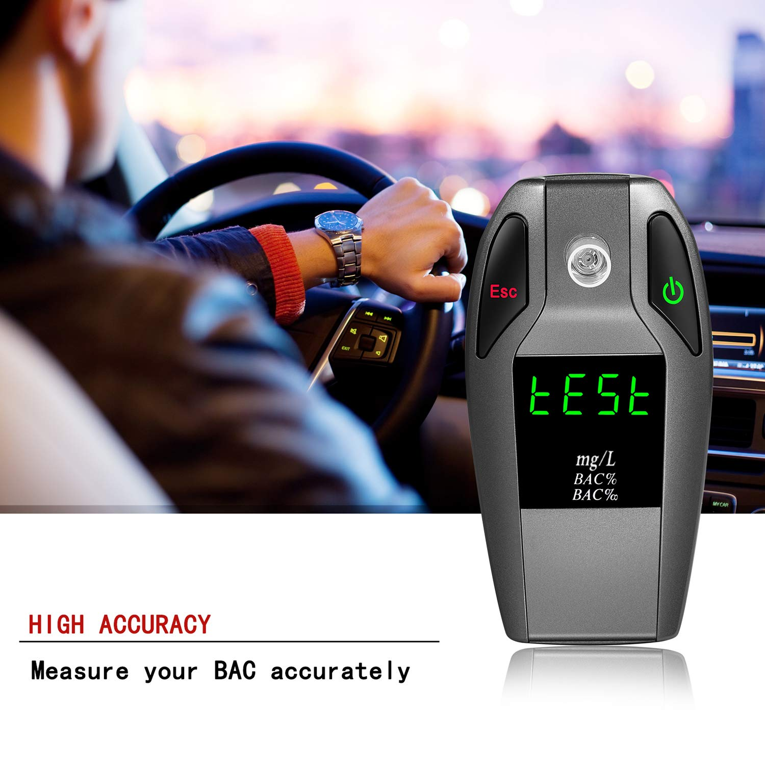 JASTEK Breathalyzer, [2019 New Version] Fuel Cell Sensor Digital Breath Alcohol Tester and Professional Grade Blood Alcohol Content Detector Made of Zinc Alloy by JASTEK (Image #2)