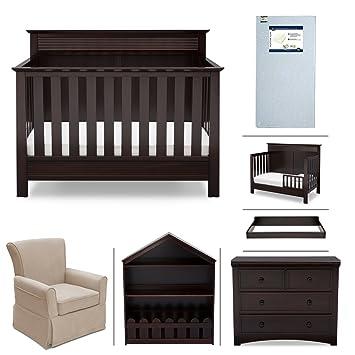 Crib Furniture   7 Piece Nursery Set With Crib Mattress, Convertible Crib,  Dresser,