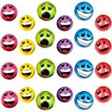 "Wish Novelty - Set of 24 Emoji Silly Face Foam Colorful Stress Balls (2.5"") - Soft, Fun Novelty Toy Gift Bundle - Bright, Assorted Colors for All Ages!"