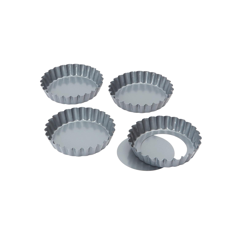 Dexam Non-stick loose base Mini Quiche/Tart pan 10 cmx 1.75cm Set of 4 17841492