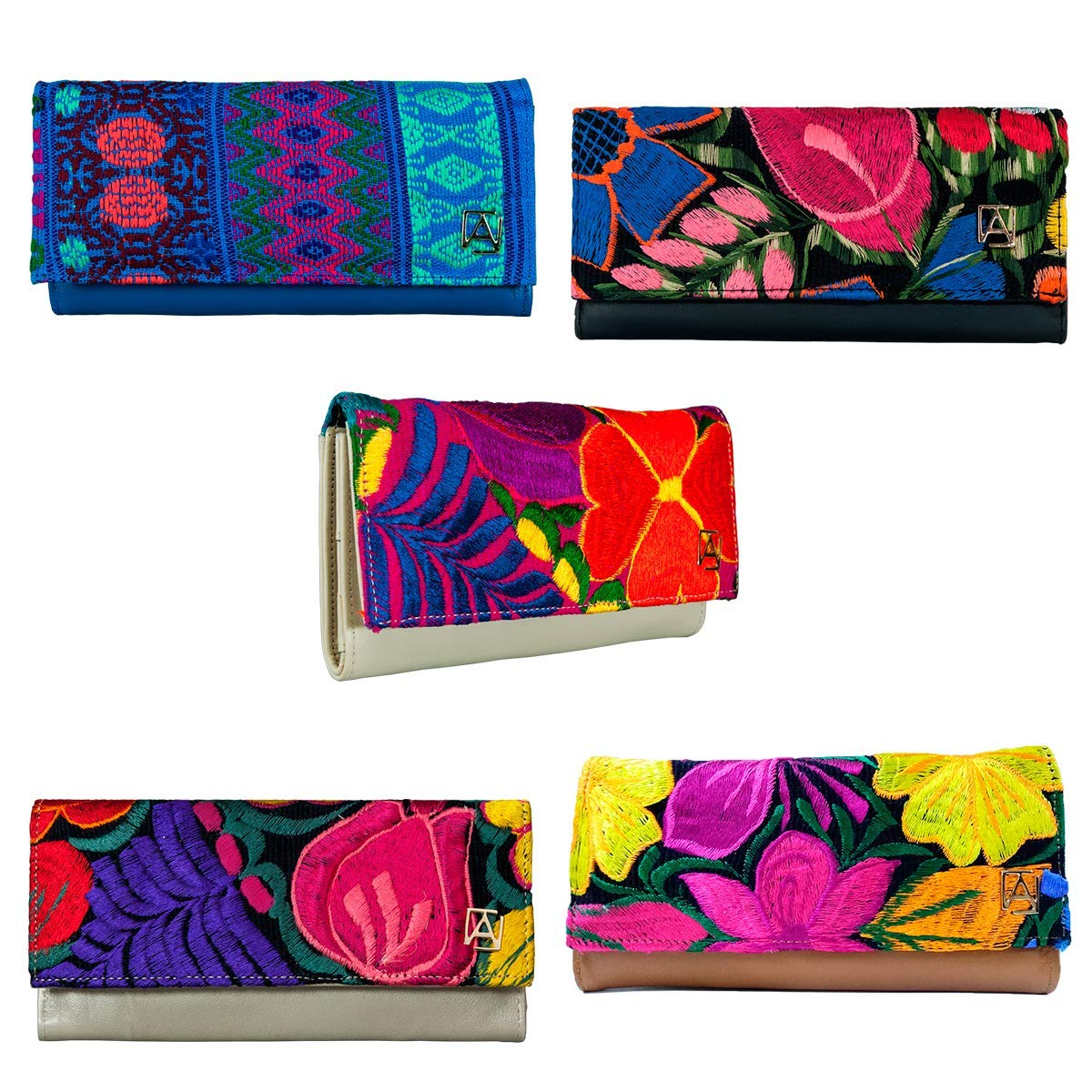 Amazon.com: Gold 01 model Tri-Fold leather Wallet with Artisan Embroidery. Original AngeLozano Brand. 0.79 x 4.72 x 3.54 inches: Handmade