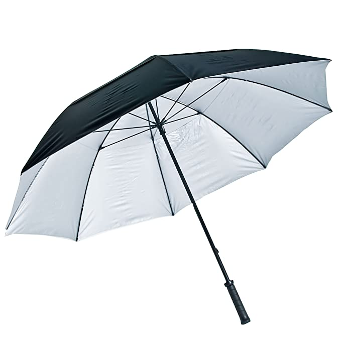 LONGRIDGE - Paraguas con protección ultravioleta, color negro y plateado: Amazon.es: Deportes y aire libre