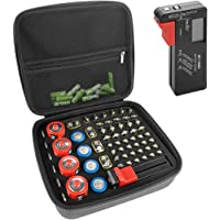 LinkIdea Hard Battery Storage Container, Organizer Box with Tester BT-168, Safe Carrying Battery Case Holder - Holds 63…