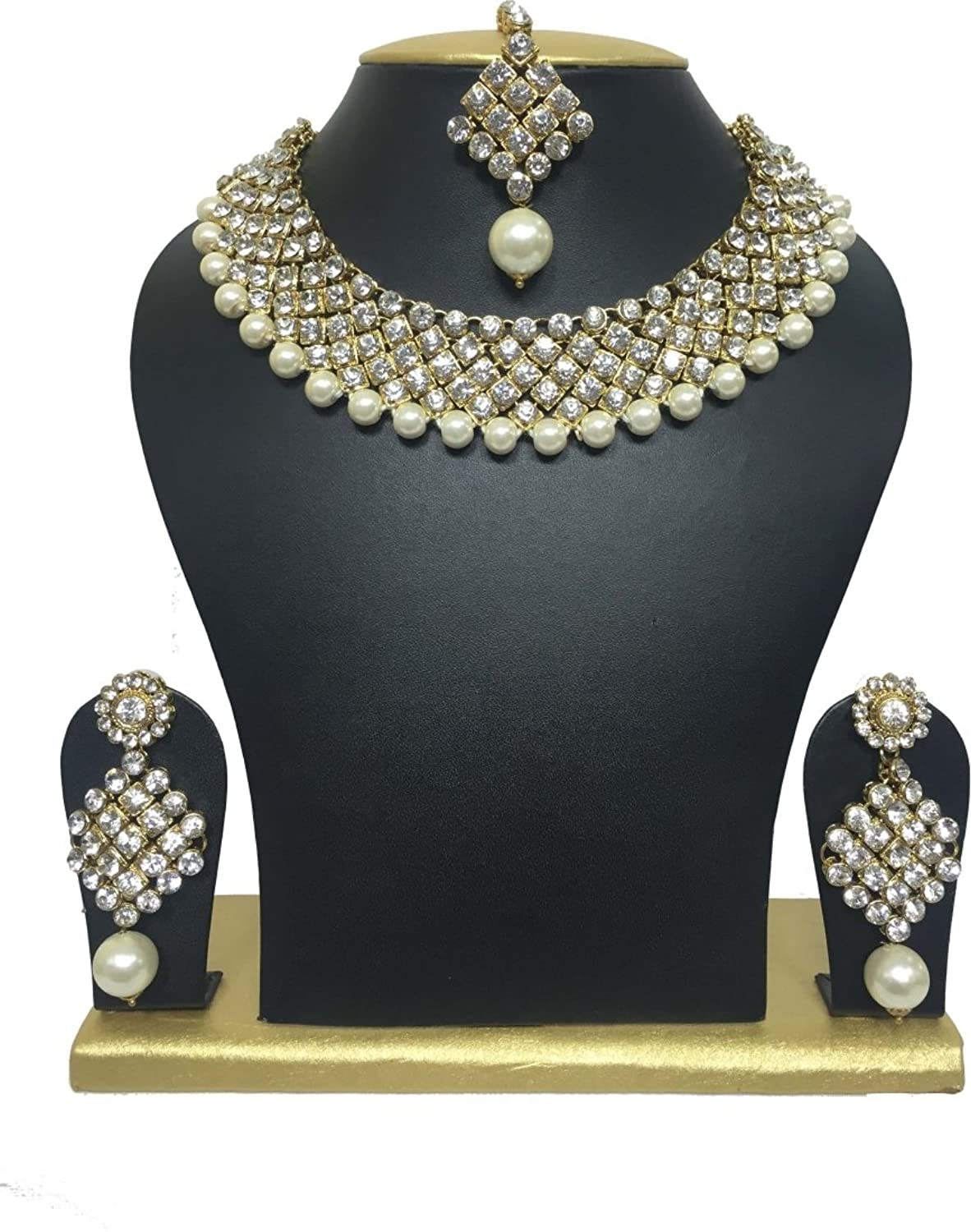 Buy Shining Diva Traditional Jewellery Choker Pearl Necklace Set ...