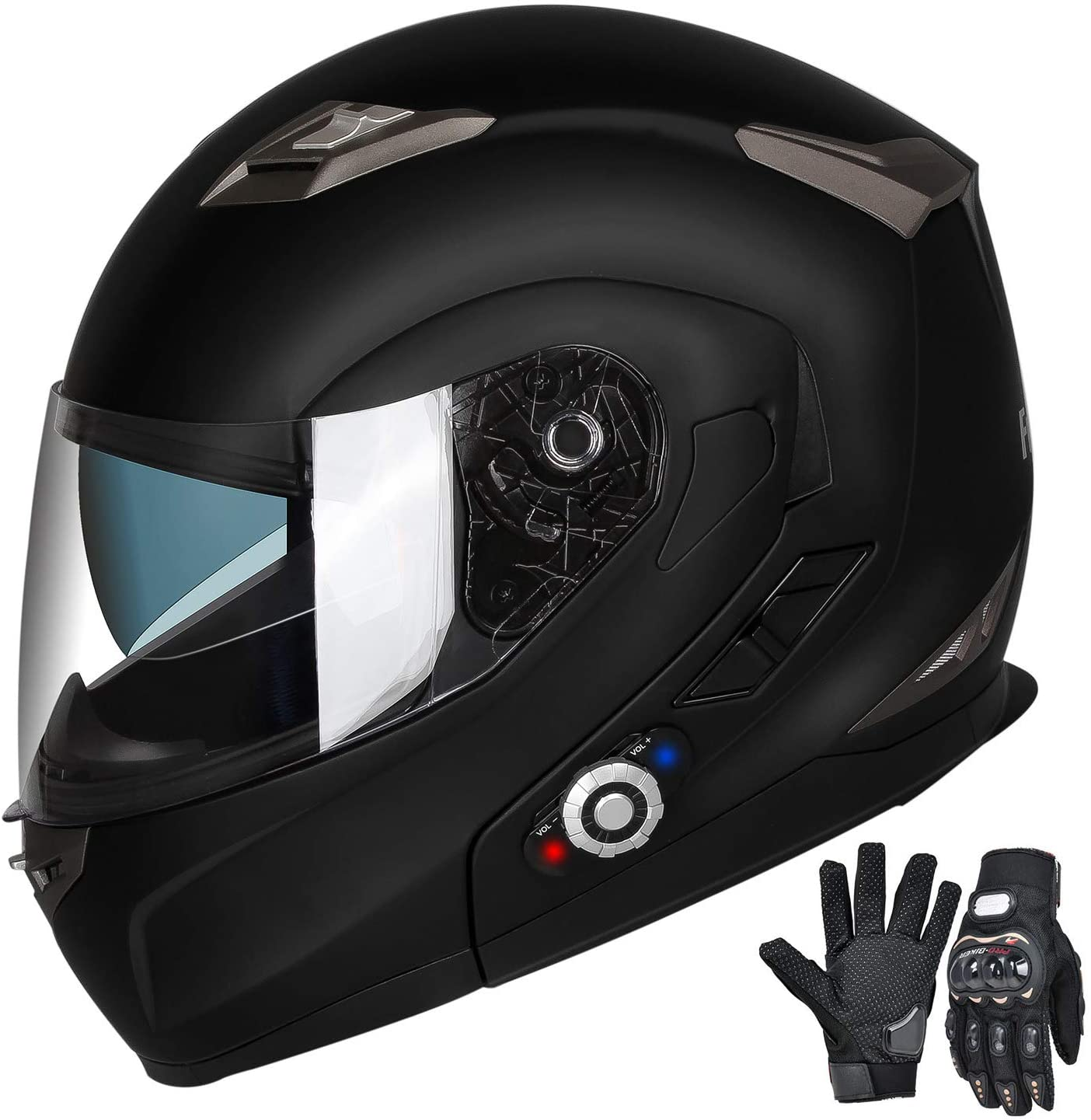 FreedConn Motorcycle Bluetooth Helmets, Modular Flip up Dual Visors Full Face Helmets, DOT Approved Helmet, Built-in Mp3 FM Radio Integrated Intercom Communication System