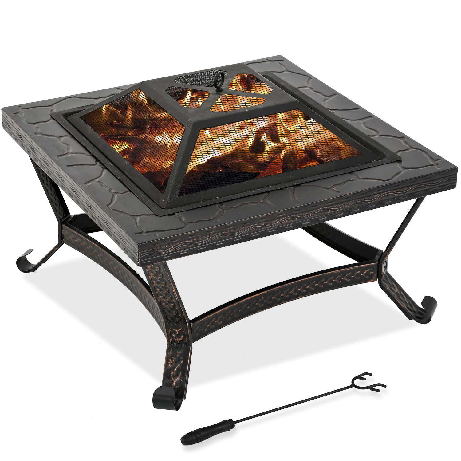FDW Outdoor fire Pit for Wood 25 FirePit MetalFire Bowl Fireplace Backyard Patio Garden Stove with Charcoal Rack, Poker