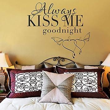 Amazon.com: Bedroom Decor Vinyl Wall Decal Always Kiss Me Goodnight ...