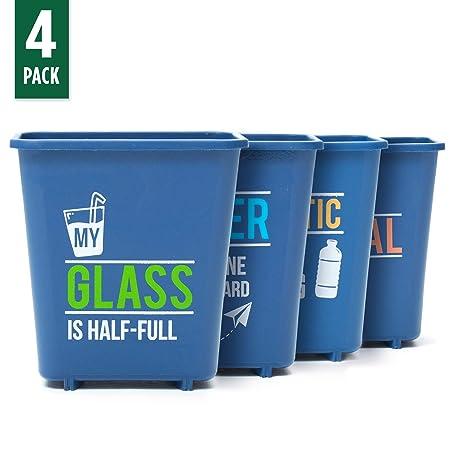 Mindable - Juego de 4 contenedores de Reciclaje, 2 galones, para ...