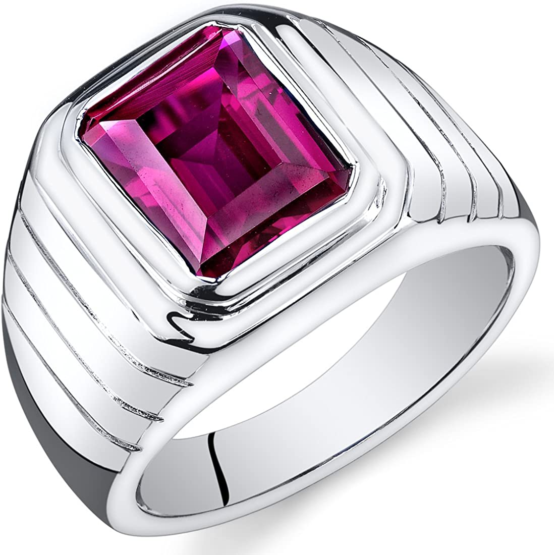 Mens 6.50 Carats Created Ruby Ring Sterling Silver Rhodium Nickel Finish Octagon Cut Sizes 8 to 13
