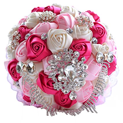 Amazon.com: Linabridal Women\'s Bouquet Crystals Bridal Holding ...