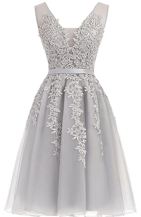 77659a20c1 LeoGirl Womens Beaded Lace Appliques Illusion Tulle Short Prom Dresses  V-Neck Homecoming Formal Party Dress at Amazon Women s Clothing store