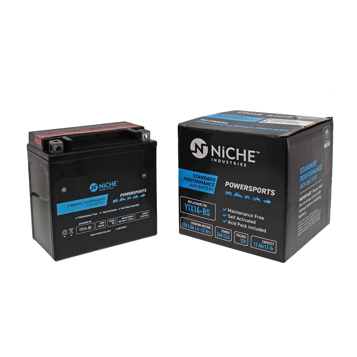 BMW For Honda Kawasaki /& more NICHE Performance Series Replacement AGM Battery for YTX14-BS 12V ATV 240CCA Motorcycle Self Activated Maintenance Free Sealed Scooter Rechargeable