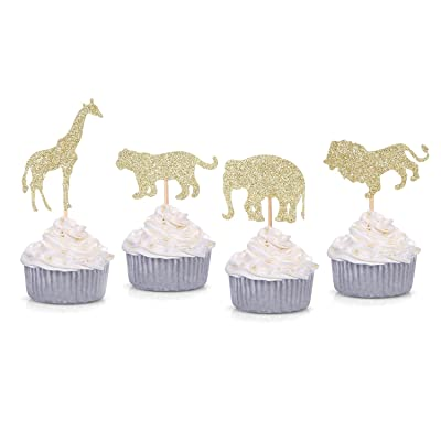 24 Counts Gold Glitter Jungle Safari Animal Cupcake Toppers Elephant Giraffe Lion Tiger for Baby Shower Birthday Party Decorations: Toys & Games
