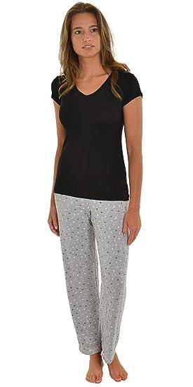 631593a8d Int Intimate Womens Pajamas Black V-Neck Top Gray Pink Print PJ Pants 2  Piece
