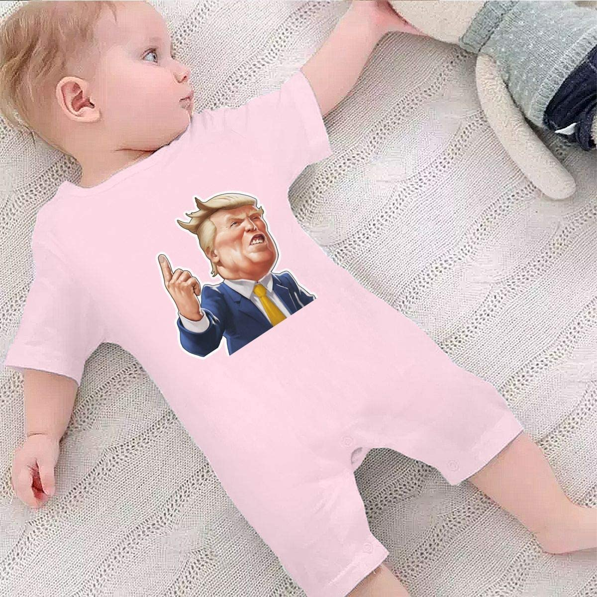 Happiness Station Donald Trump Baby Playsuit Outfits Infant Boys Girls Rompers 0-24 Months Baby Jumpsuit Clothes Kids Playsuits Toddlers Short Sleeve Outfits