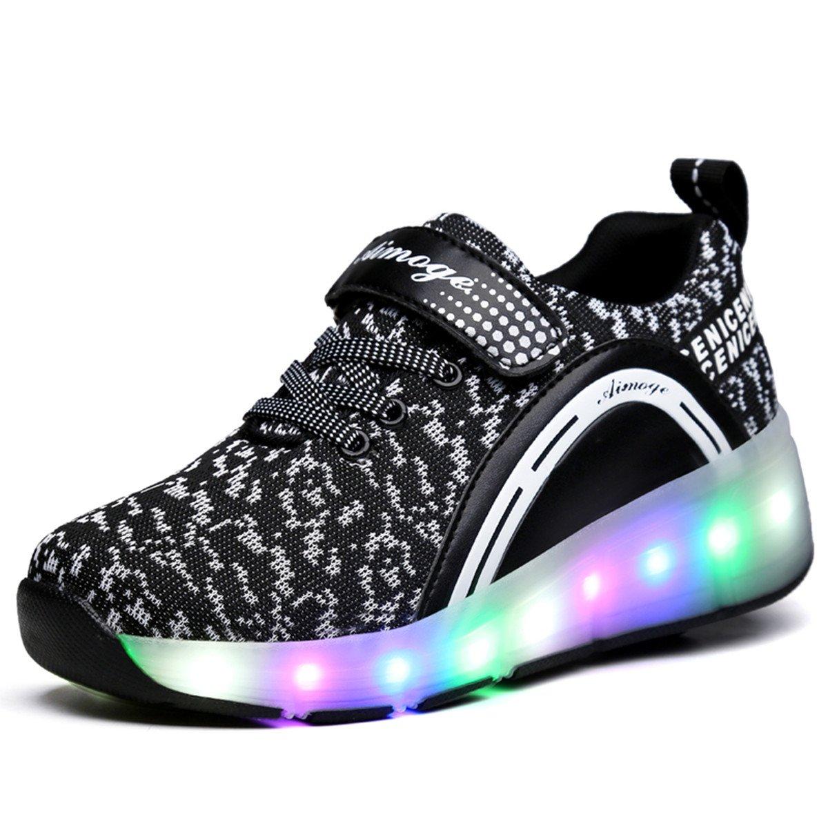 VMATE LED Light Up Roller Skate Shoes Blink Single Wheel Fashion Sports Flashing Sneaker Boys Girls Kid