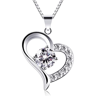 8a92b4e8b B.Catcher Heart Necklace 925 Sterling Silver Cubic Zirconia Pendant  Necklaces,18""