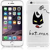JAMMYLIZARD   Cover custodia in Silicone Trasparente con Sketch per iPhone 6 e 6s, BATMAN