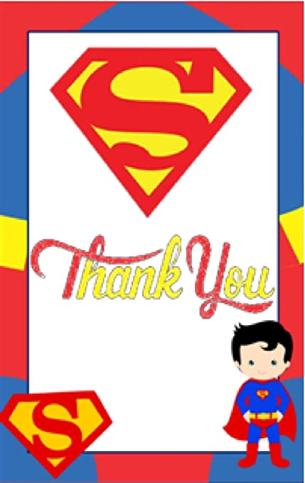 Superman Theme Thank You Tags 20 Pieces For Party