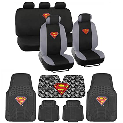 BDK C1604 Superman Seat Cover Carpet Floor Mats Sun Shade For Car SUV Van