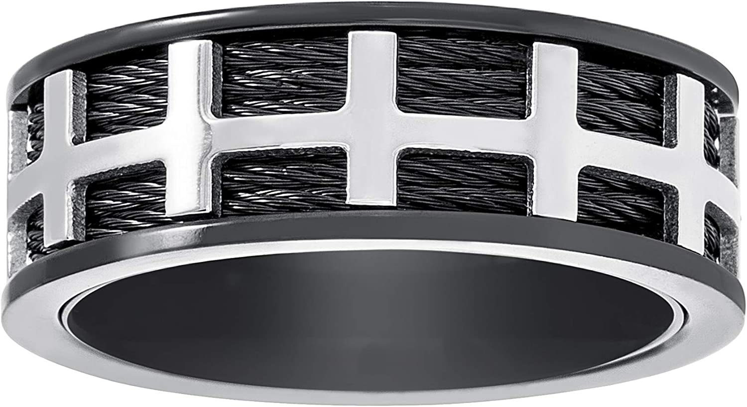 Steve Madden Black IP Plated Stainless Steel Cross Cable Wedding Band Ring for Men