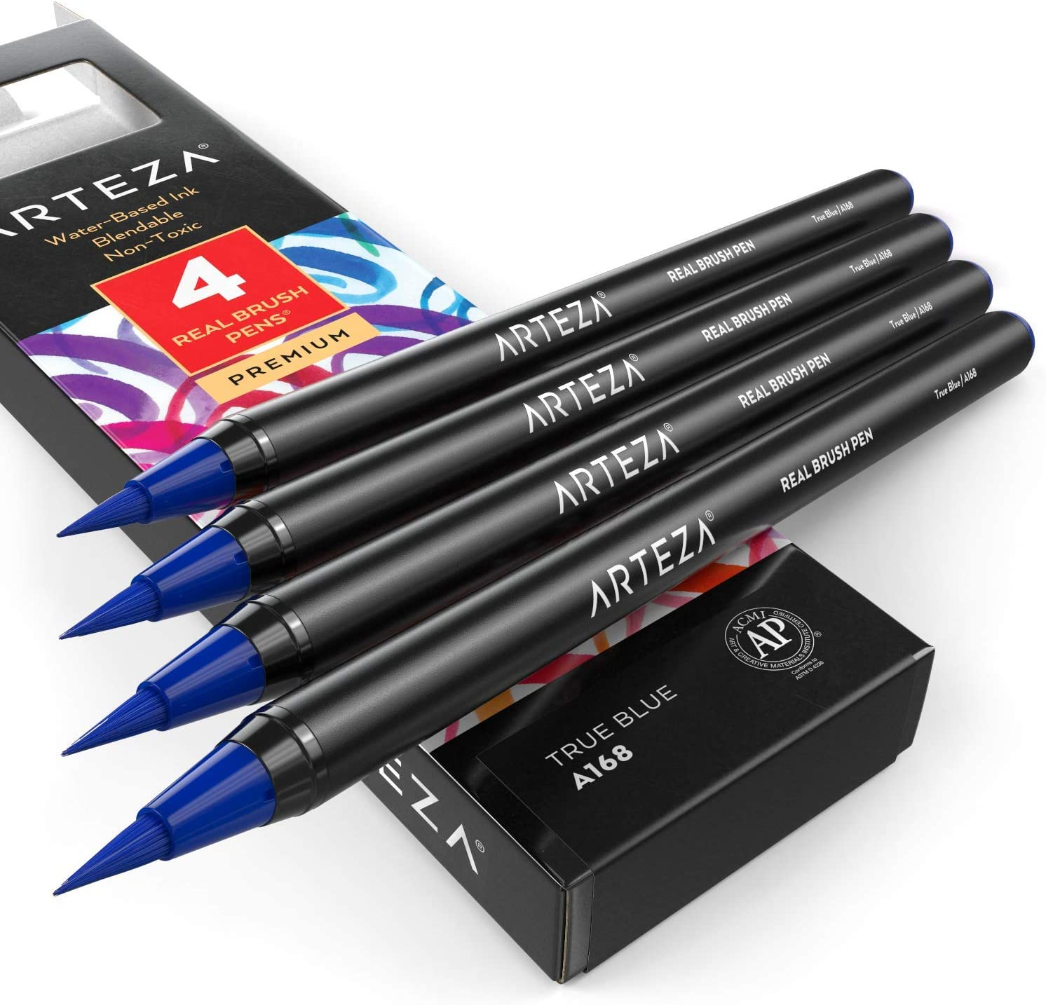 Arteza Real Brush Pens (A168 True Blue), Pack of 4, for Watercolor Painting with Flexible Nylon Brush Tips, Paint Markers for Coloring, Calligraphy and Drawing