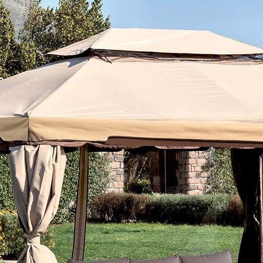 Luxurygarden cenador de jardín 360 x 480 de aluminio con toalla ...