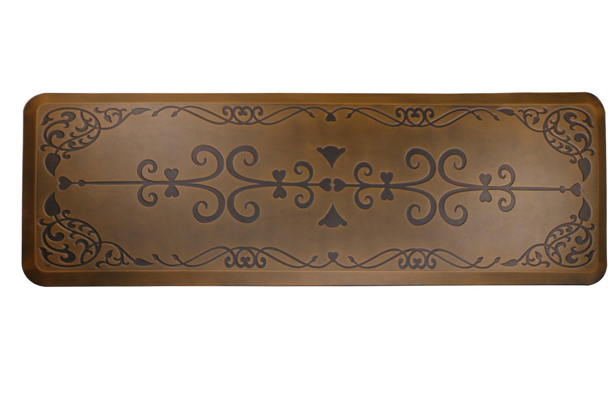 AMCOMFY Kitchen Anti Fatigue Mat,Comfort Floor Mats,Standing Desk Mats,Antique Series (24''x70''x3/4'', Love Flower Brown)