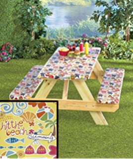 Amazoncom Piece Picnic Table Cloth And Bench Cover Th Of July - White vinyl picnic table