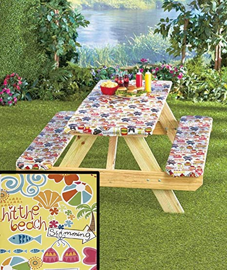 3 Piece Fitted Picnic Table U0026 Bench Seat Cover Set Elastic Fit Patio  Tablecloth
